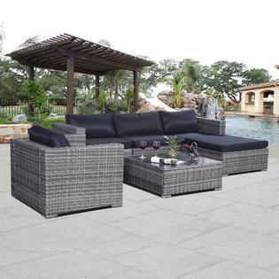 Elegant Goplus 6PC Furniture Set Aluminum Patio Sofa PE Gray Rattan Couch Black patio furniture clearance