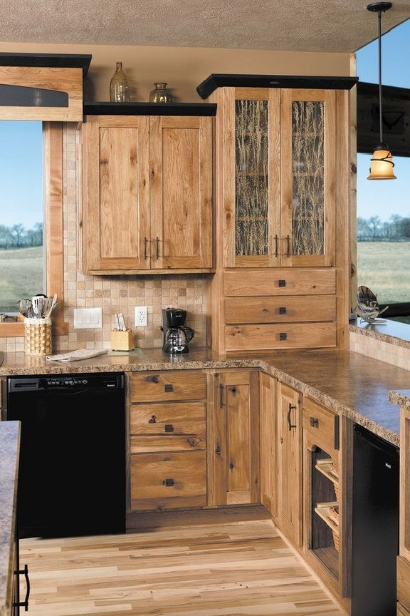 Elegant hickory cabinets rustic kitchen design ideas wood flooring pendant lights rustic wood kitchen cabinets