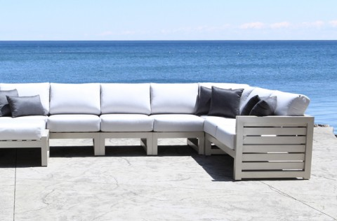 Elegant Lakeview Modern Cast Aluminum Patio Furniture Outdoor Sectional Set