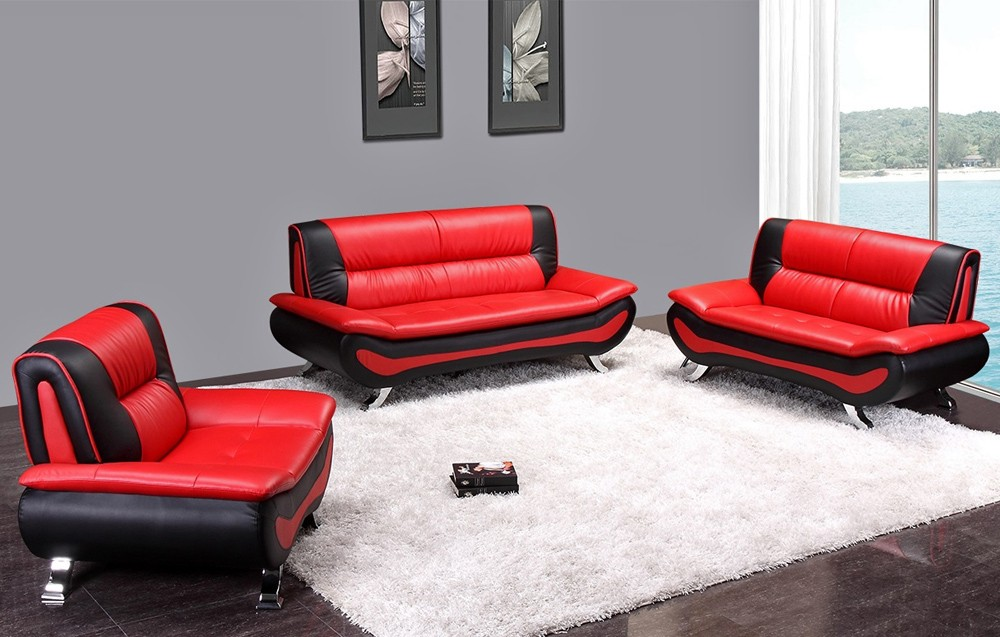 Elegant Malvina Red and Black Leather Sofa Set red sofa set