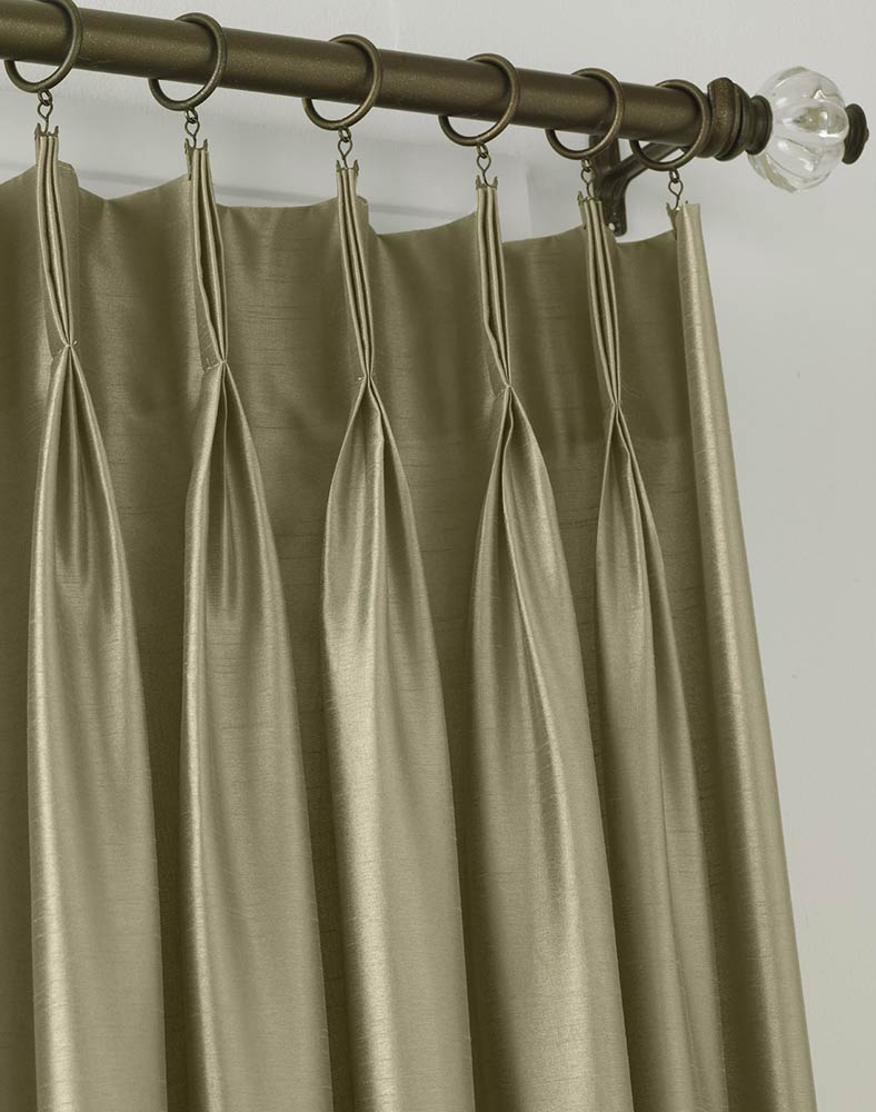 Elegant Marquee Faux Silk Pinch Pleat Drapery pinch pleat drapes