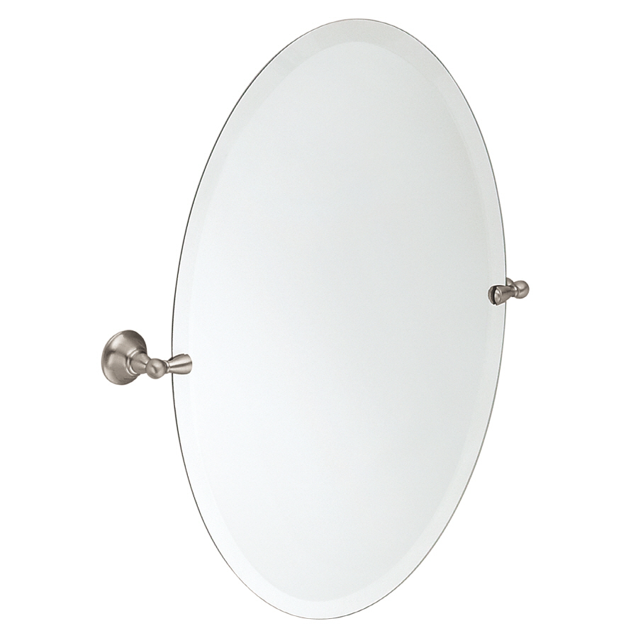 Elegant Moen Sage 22.79-in x 26-in Oval Frameless Bathroom Mirror frameless oval bathroom mirrors