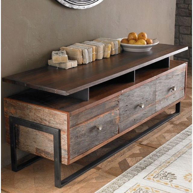 Elegant Mueble madera rústica y acero Más · Rustic Industrial FurnitureIndustrial  Tv reclaimed wood furniture