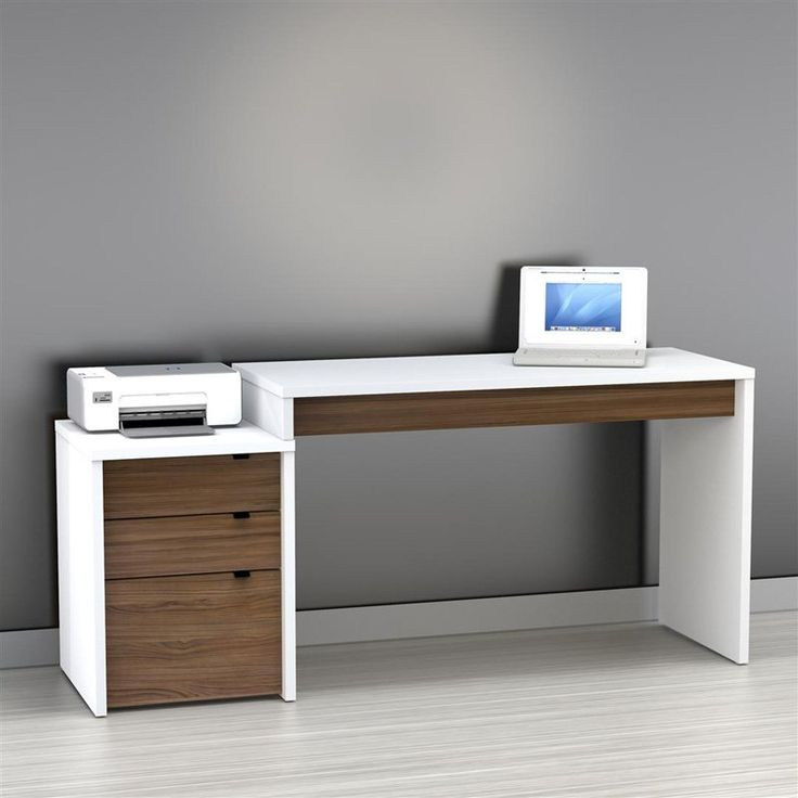 Elegant Nexera Liber-T Computer Desk with Filing Cabinet - White. Contemporary  DeskDesk modern desks for home office