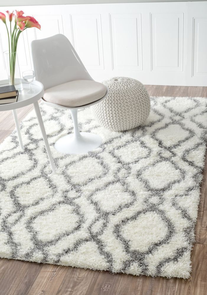 Elegant Nuloom 5u00273 x 7u00276 Slyvia Shaggy Rug in White white and gray shag rug