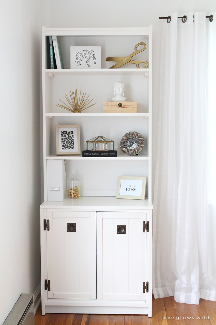 Elegant Office Cabinet And Bookcase Makeover Love Grows Wild white bookcase with cabinet