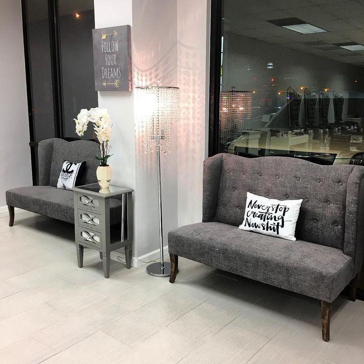 Elegant Our waiting area is complete Thank you @society6 for these amazing throw beauty salon waiting room furniture