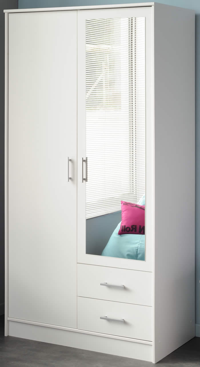 Elegant Parisot Infinity double wardrobe in white with mirror white mirrored wardrobe