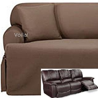 Elegant Reclining SOFA T Cushion Slipcover Ribbed Texture Chocolate Adapted for  Dual slipcover for reclining sofa
