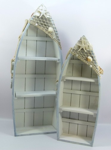 Elegant Shabby style, seaside/nautical theme, set of two boat shape shelf units, boat shaped bookcase