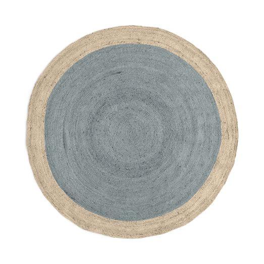 Elegant SPO Bordered Round Jute Rug, 6u0027 Round, Blue Sage round jute rug