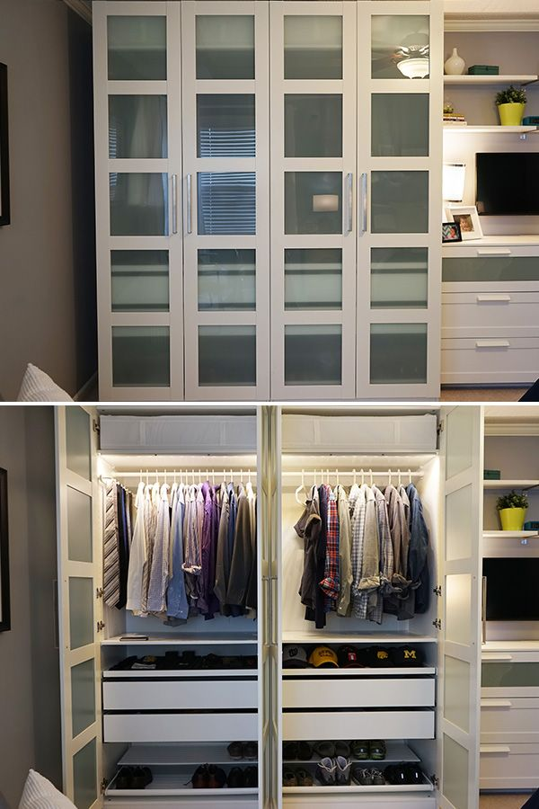 Elegant The IKEA Home Tour Squad built a custom PAX wardrobe in their bedroom bedroom storage cupboards