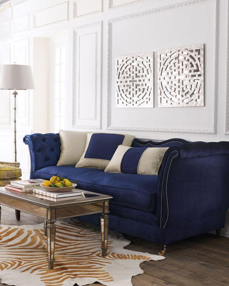 Elegant Tufted blue velvet scroll arm sofa navy blue velvet sofa
