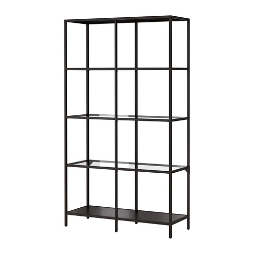 Elegant VITTSJÖ Shelf unit IKEA Tempered glass and metal are durable materials that glass shelving unit