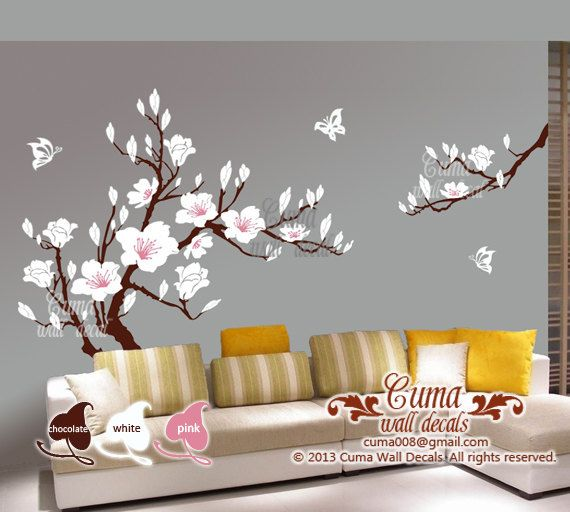 Elegant white flower wall decal s cherry blossom Vinyl wall decals by cuma flower wall stickers