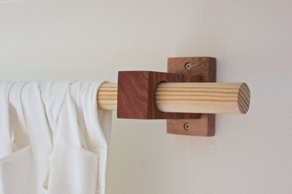 Elegant ... Wooden Curtain Rods Poles ... wood curtain rods