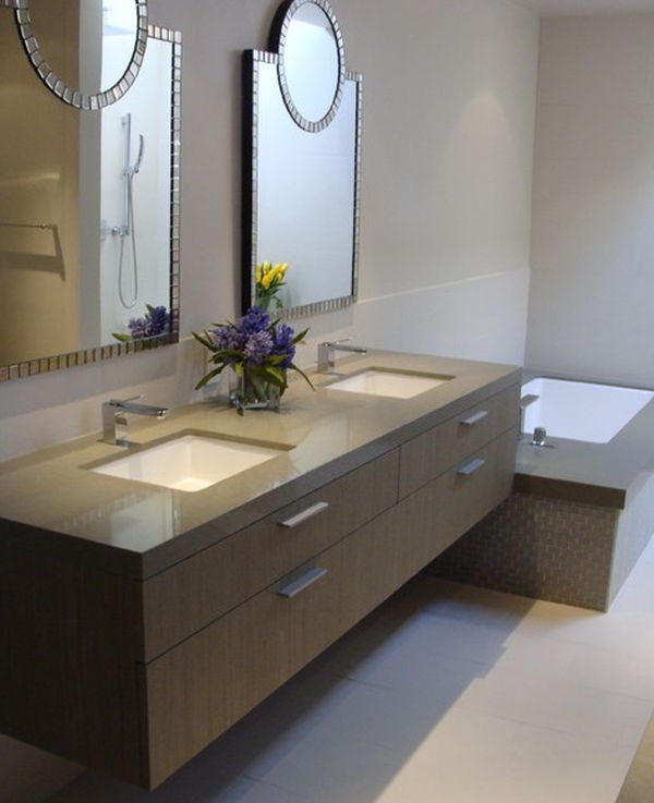 Stunning View in gallery Tantalizing bathroom design with beautiful mirrors and  brown floating floating bathroom vanity cabinet
