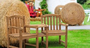 New Clivedon Teak Garden Companion Seat - Wooden Garden Love Seat garden love seat
