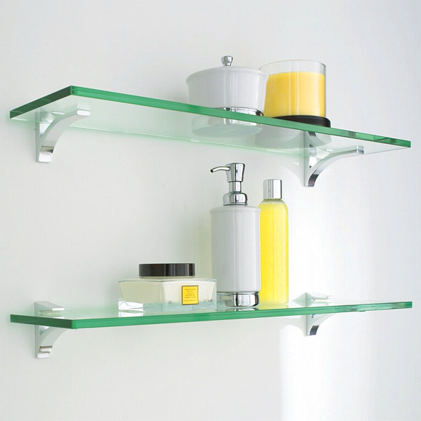 Contemporary Glass Shelf Clip Kits ... glass shelving for bathroom