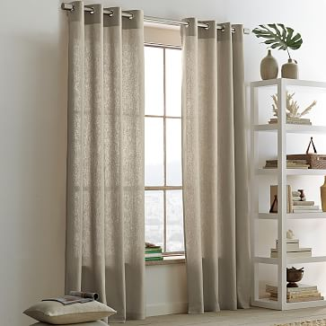 Unique Linen Cotton Grommet Curtain - Flax | west elm grommet window panels