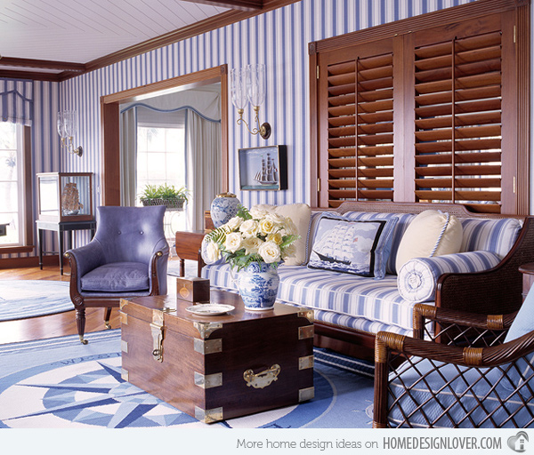 Ideas of blue striped home country style living room ideas