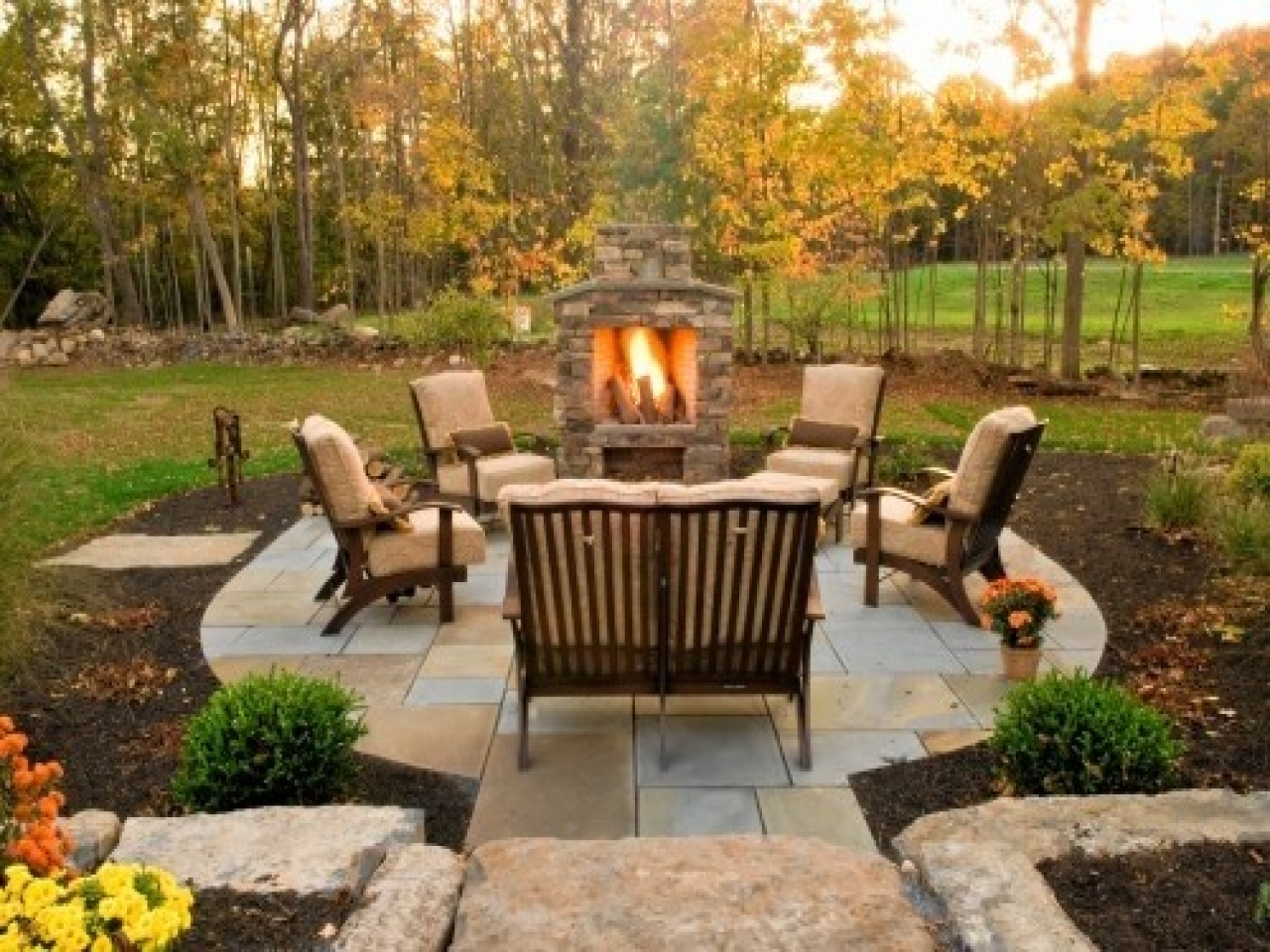 Ideas of ... Brilliant Outdoor Fireplace Patio For Your Small Home Interior Ideas  with outdoor fireplace patio