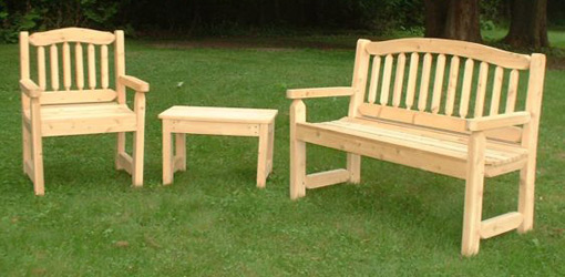 Ideas of Cypress bench, chair, and table on lawn wooden garden furniture