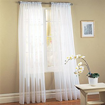 Ideas of Elegant Comfort voile84 Window Curtains Sheer Panel with 2-Inch Rod Pocket, sheer window curtains