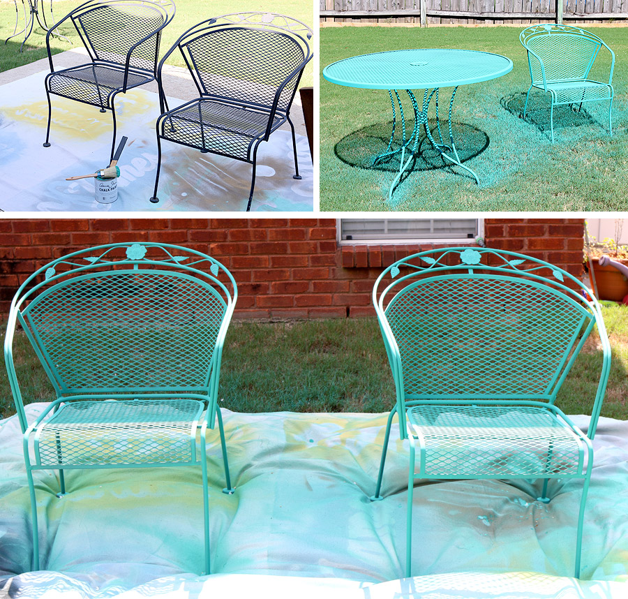 Ideas of How to paint a wrought iron patio set with Chalk Paint® by Annie best paint for outdoor metal furniture