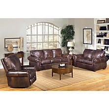 Ideas of Kingston Top-Grain Leather Sofa, Loveseat and Recliner Living Room Set leather reclining sofa set