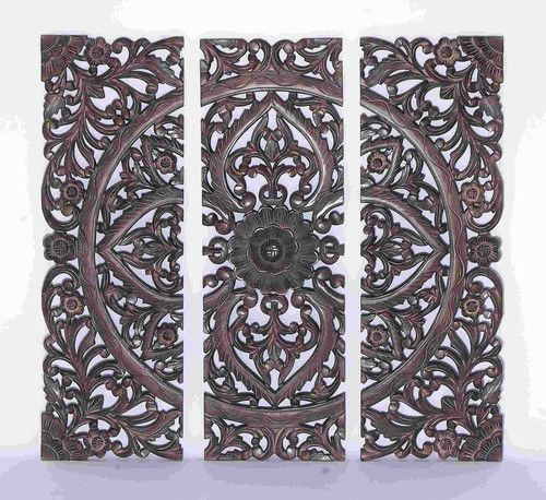 Images of 36x36 Large Dark Carved Wood Wall Art Panel Moroccan African Jungle Style carved wood wall art panels