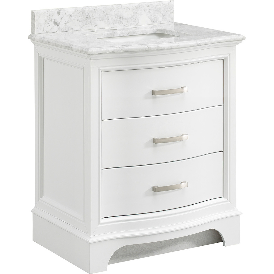 Images of allen + roth Tennaby White Marble 30-in Undermount Single Sink Poplar Bathroom 30 inch white bathroom vanity