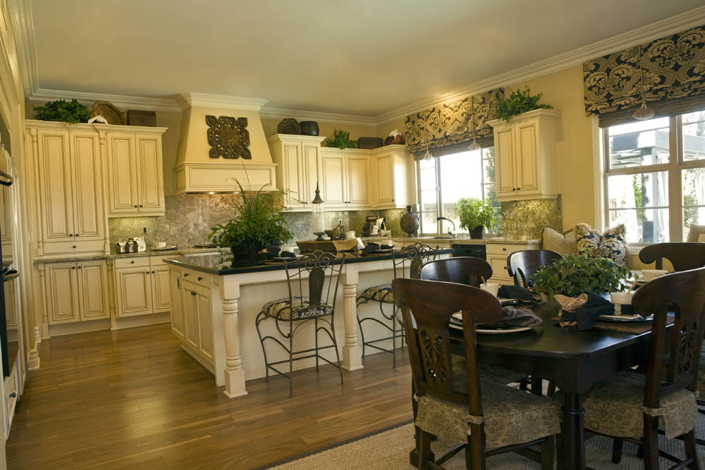 Images of Custom kitchen shades with valance and matching chair covers. custom kitchen window treatments
