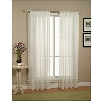 Images of Elegant Comfort 2-Piece Solid White Sheer Window Curtains/drape/panels /treatment sheer window panels