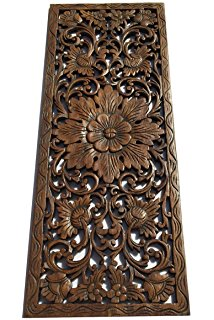Images of Large Carved Wood Wall Panel. Floral Wood Carved Wall Decor. Size 35.5 wood carved wall art