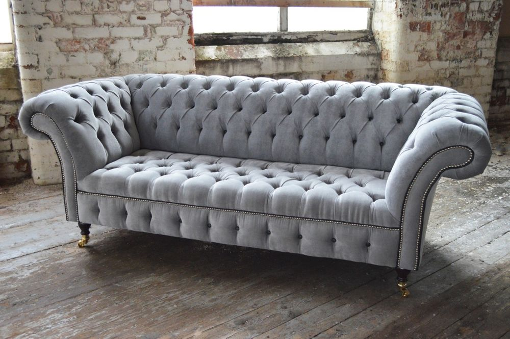 Images of MODERN HANDMADE SILVER VELVET FABRIC CHESTERFIELD SOFA COUCH CHAIR BLACK  DETAILS fabric chesterfield sofa