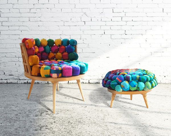 Images of Next life: Nepalese trashed silk into funky furniture-- wow..kinda neat funky furniture