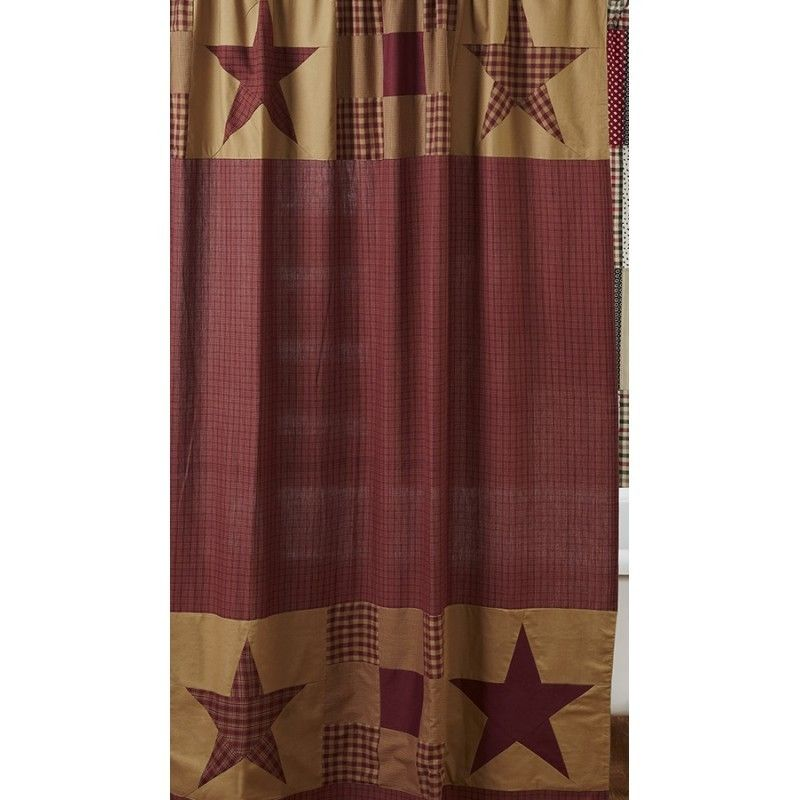 Images of NINEPATCH Star Shower Curtain Burgundy Red Tan Primitive Rustic Country  Plaid rustic country shower curtains