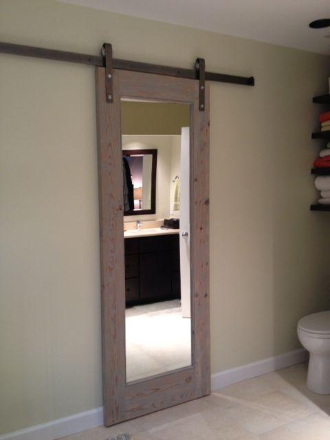 Images of Sliding bathroom door. Gray toned antique wood. sliding doors for bathroom entrance