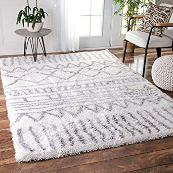 Images of Soft u0026 Plush Geometric Drawings Kids Grey Shag Area Rugs, 5 Feet 3 white shag area rug