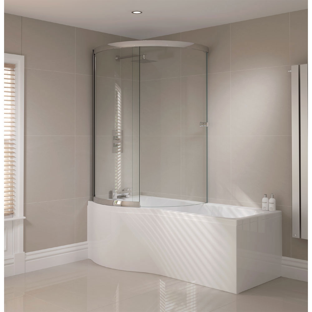 Images of Sommer P-Shaped Shower Bath 1700mm (Inc. Sliding Screen + Acrylic Front  Panel) p shaped bath shower screen