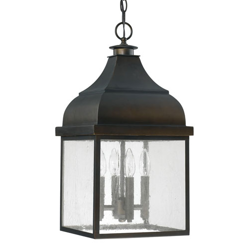 Images of Westridge Old Bronze Four-Light Outdoor Hanging Lantern with Antique Glass hanging outdoor light fixtures