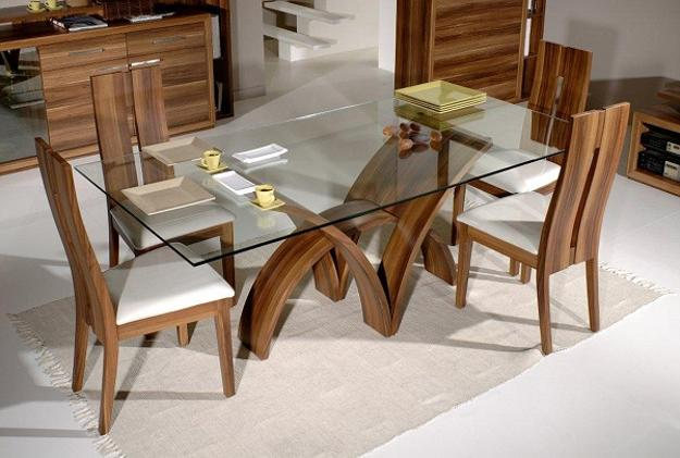 Amazing Glass top dining table with wooden base latest dining table designs with glass top