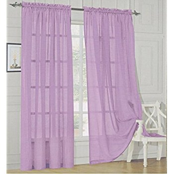 Contemporary Elegant Comfort® 2 Piece Solid Sheer 60 lilac sheer curtains