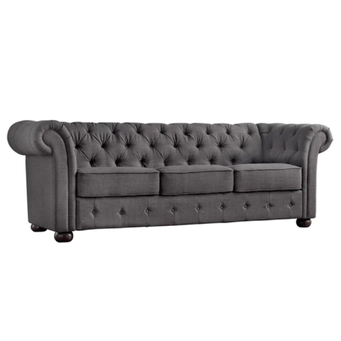 Luxury Tribecca Home Chesterfield Tufted Scroll Arm Sofa linen chesterfield sofa