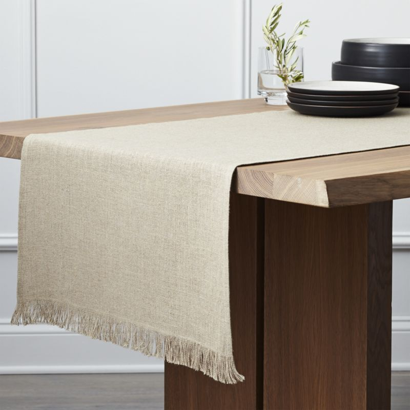 Cool Beckett Natural Linen Table Runner | Crate and Barrel linen table runners
