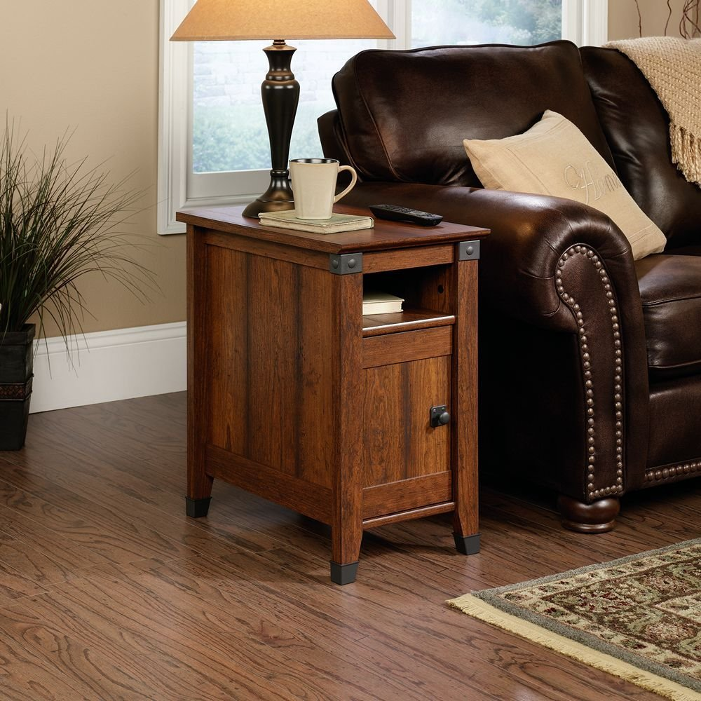 Contemporary Sauder Carson Forge Side Table, Washington Cherry Finish living room end tables