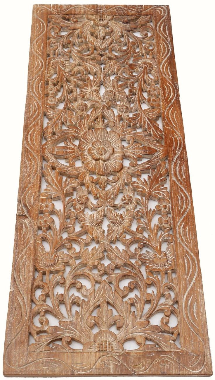 Luxury Asian Carved Wood Wall Decor Panel. Floral Wood Wall Art. White Wash wood carved wall art