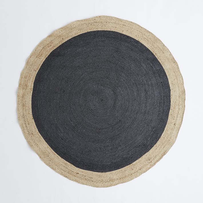 Luxury Bordered Round Jute Rug - Slate | west elm round jute rug