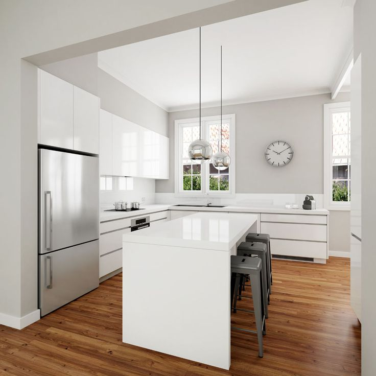 Luxury Classic modern white kitchen design. Solu-slimline handles, gloss  polyurethane door fronts modern white kitchen designs